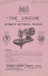 Advert for the Unicum Automatic Buttonhole Machine 6155